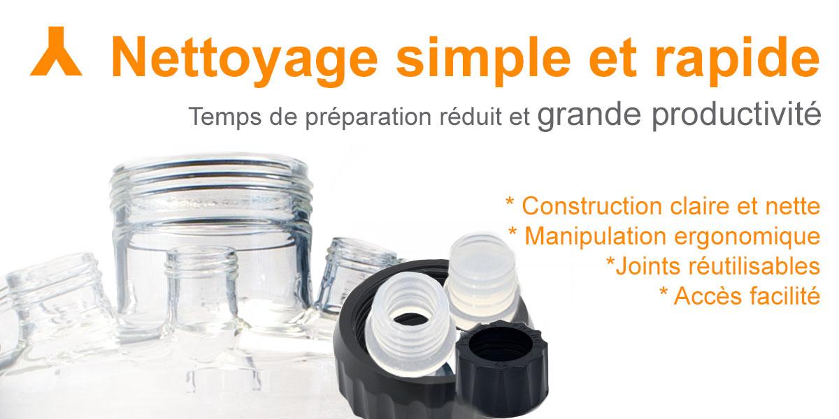 Bioréacteur: nettoyage simple et rapide