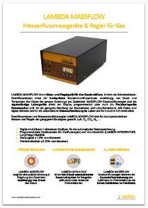 PDF: Broschüre zu Gas messen und regeln mit LAMBDA MASSFLOW